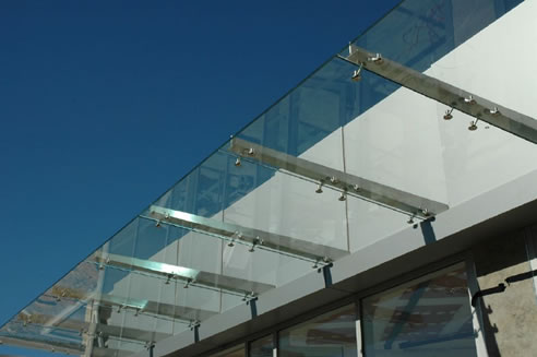 Glass Canopy With Ribbed Steel Spider Fittings From Austvision