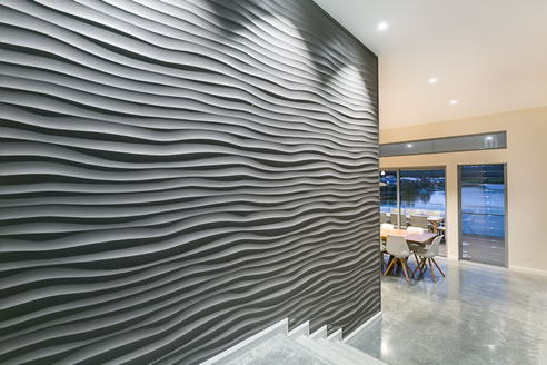 3d Wall Panels Make A Splash In This Waterfront Home