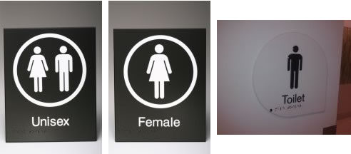 toilet braille signs
