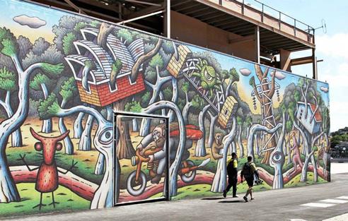 Construction wrap and facade murals scaffad australia for Australian mural