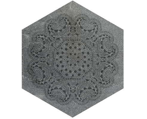 patterned stone ceramic hexagon tile