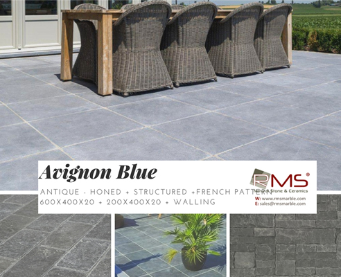 Avignon Blue antique limestone paving