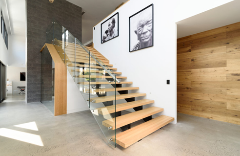 Wide Stair Case Patch Fitted Glass Balustrade