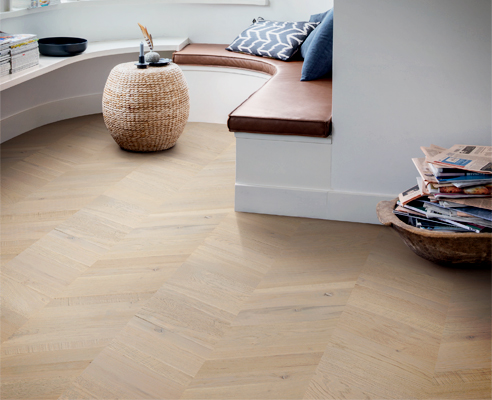 Prefinished chevron timber floor from Premium Floors