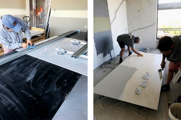 large format tile installation with