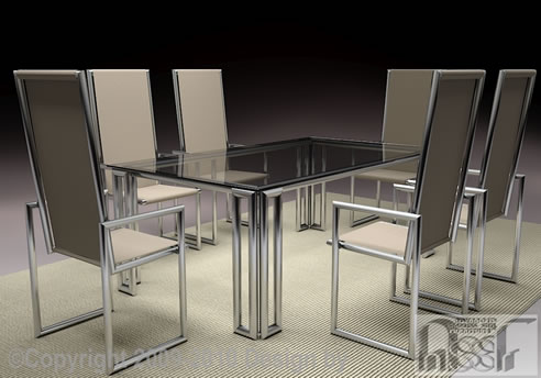 Tubular Dining Table Set Advanced Stainless Steel