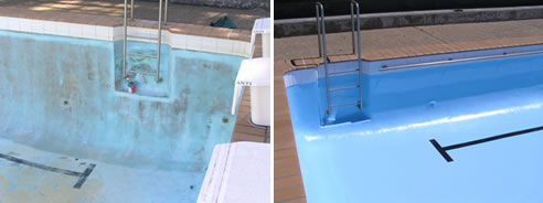 before and after pool coating