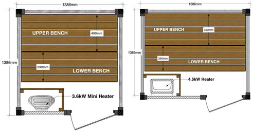 New sizes for cedar saunas ukko saunas st marys nsw 2760 for Sauna floor plans