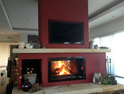 Double Sided Wood Fireplace Chazelles
