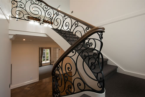 curving wrought iron balustrade