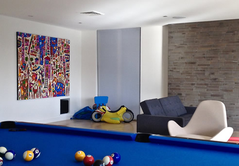colouful artwork pool room