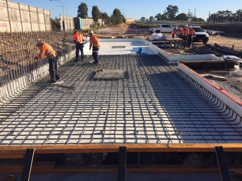 pre-applied waterproofing membrane North West Rail Link Bella Vista Station