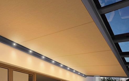 outdoor awning integrated lighting