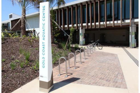 wayfinding bollard and bike racks
