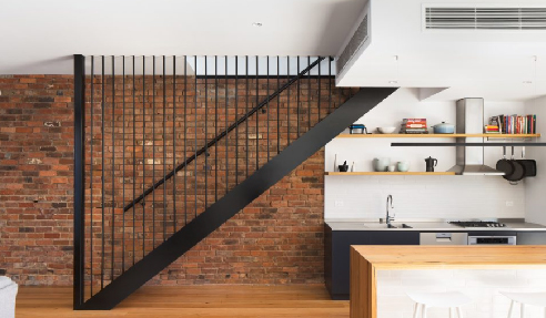 Industrial Thick Cut Chestnut Residential Stairs