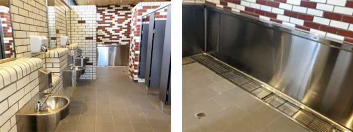 Stainless Steel Grated Urinals for Stadiums from Stoddart
