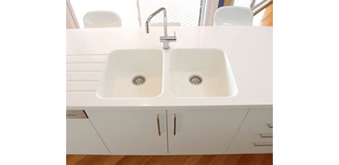 Integrated Corian kitchen sinks from CASF Australia