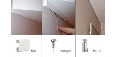 clip rail hanging system from art hanging systems. Black Bedroom Furniture Sets. Home Design Ideas