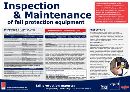 Capital Safety Updated Inspection & Maintenance Fall Protection Poster