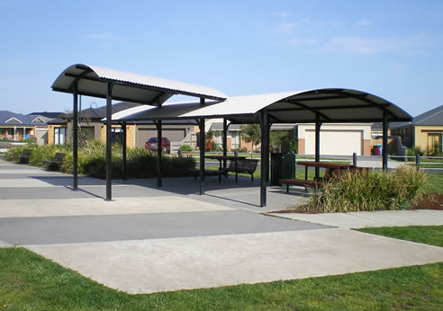 Curved Roof Park Shelters From Landmark Products Melbourne