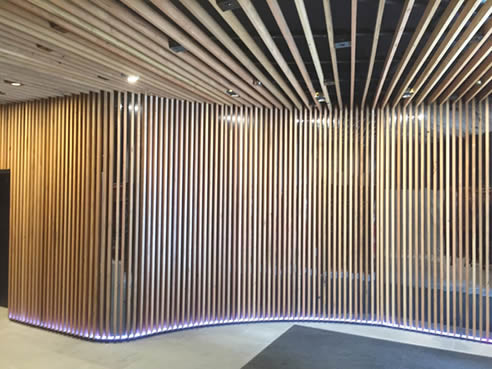 Recycled Timber Lobby Interior With Decorslat Decor Systems
