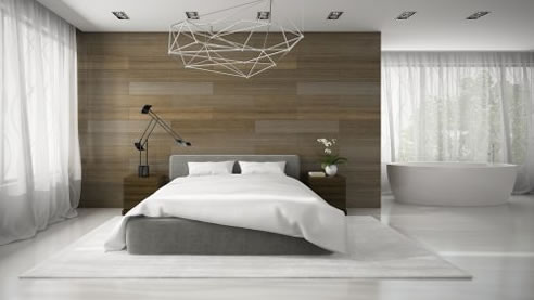 timber feature wall master bedroom