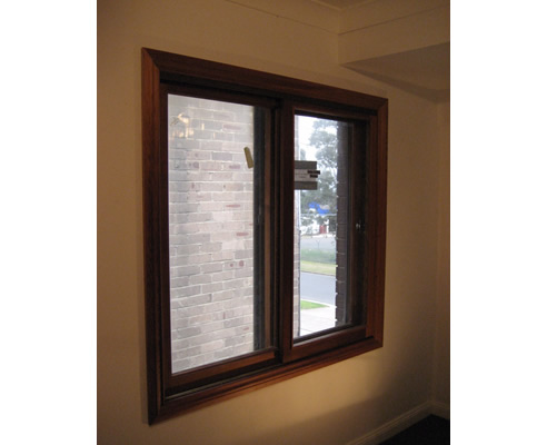 timber sliding window