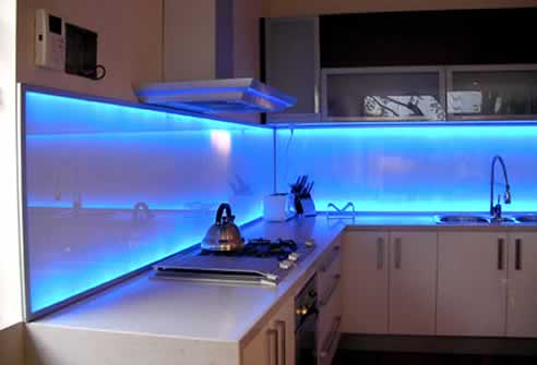 Kitchen on Illuminated Kitchen Splashbacks By Celsius Glass