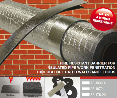 fire resistant barrier for insulated pipe work