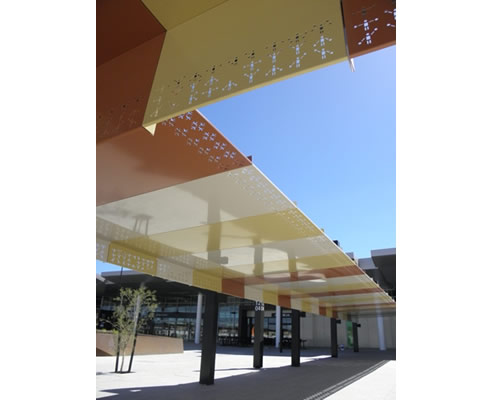 custom perforated metal canopy perth airport