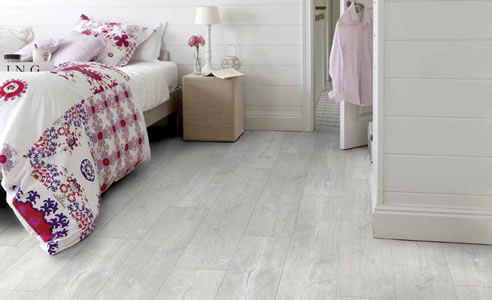 white timber floor