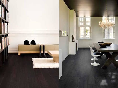 black timber floors