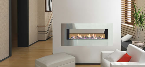 Double Sided Gas Fireplace | Jetmaster. Horizon Low Line Double Sided Open Gas Fire. Enhance the warmth and overall ambiance of your home with the addition of a Horizon Low line double sided open gas fire from Jetmaster. It acts as a perfectly stylish room divider or as a freestanding application with a chimney breast or exposed flue. It features sleek minimalist lines