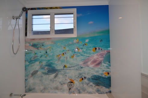 under the sea bathroom splashback