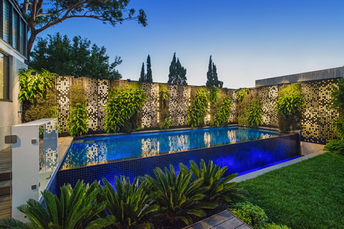 green wall pool surround
