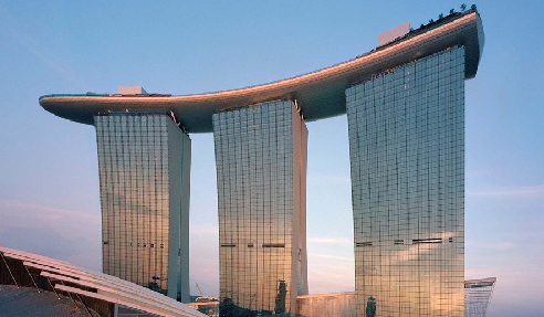 LATAPOXY 300 Adhesive was used to install natural stone and glass mosaic tiles directly on the  stainless steel pool shells for the Marina Bay Sands® Pool in the Sky
