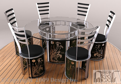 Japanese Dining Set Advanced Stainless Steel Furniture