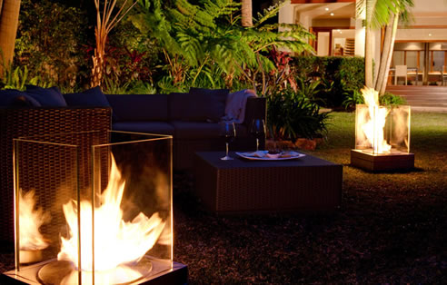 Environmentally friendly outdoor fireplace from ecosmart fire for Denatured ethanol fireplace