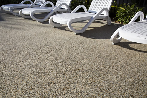 Porous paving for pool area