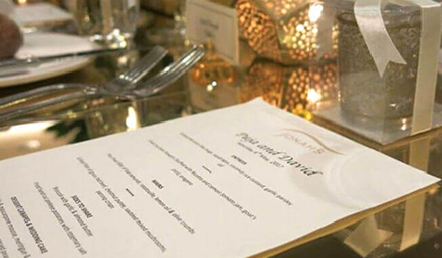 Gold Acrylic Mirror Sheets at Reception Table