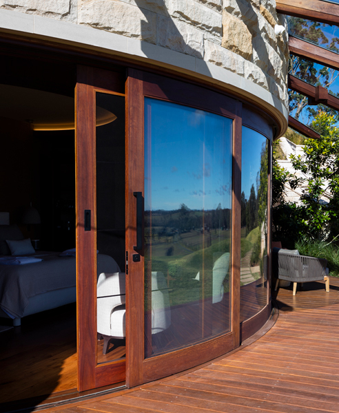 Luxury Curved Timber Framed Glass Panels