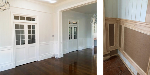 Traditional board & batten wainscoting. The progress shot provides a clear example of the process. Image: Gatti Design