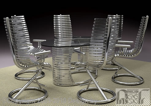 Tubular Stainless Steel Dining Set Advanced Stainless