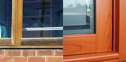 timber window compared to timber look aluminium window