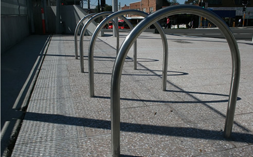 Powder coated aluminium bike hoops
