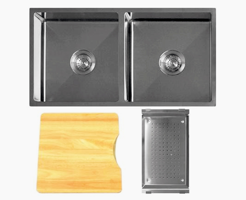 Q4 Double Bowl Radial Corner Sink with Accessory Pack 2 from Tilo Tapware